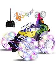 UTTORA Coche Teledirigido , Coches RC de Acrobacias invencible Radiocontrol Camiones Tornado Torbellino Vehículo a Control Remoto Recargable con Luces a Colores y un Interruptor de Música para Niños