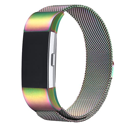 bayite for Fitbit Charge 2 Bands, Stainless Steel Milanese Loop Metal Replacement Accessories Bracelet PearlescentStrap with Unique Magnet Lock Large
