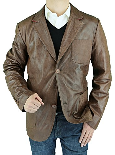 Microfiber Two Jacket Tone - LN LUCIANO NATAZZI Men's Leather Jacket Fitted Two Button Blazer (Large,Medium Brown)