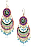 Miguel Ases Turquoise and Multicolored Small Bohemian Drop Earrings