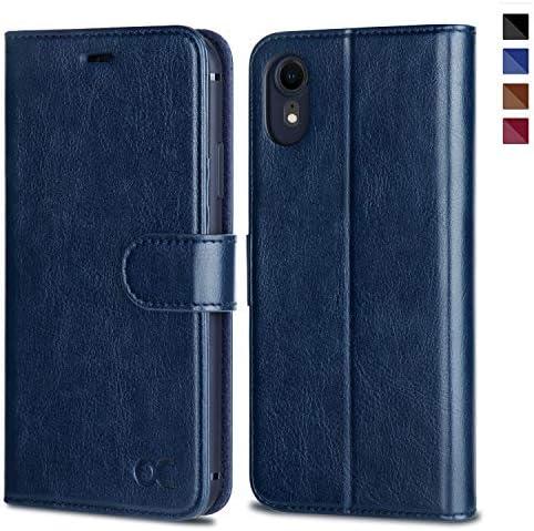 OCASE iPhone XR Hülle Handyhülle iPhone XR Schutzhülle [Premium Leder] [Standfunktion] [Kartenfach] [Magnetverschluss] Leder Brieftasche Kompatibel für iPhone XR (Blau)
