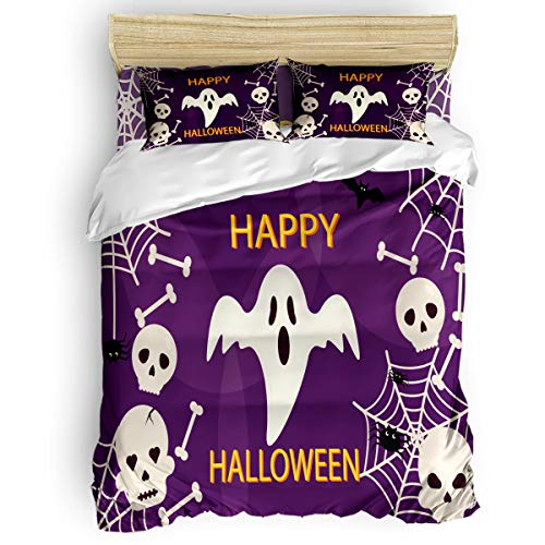 4-Piece Bedding Sets, Happy Halloween Spider Bats and Ghost Comforter Set - Duvet Cover, Bed Sheets, Pillow Cases for Childrens/Kids/Teens/Adults, Queen Size]()