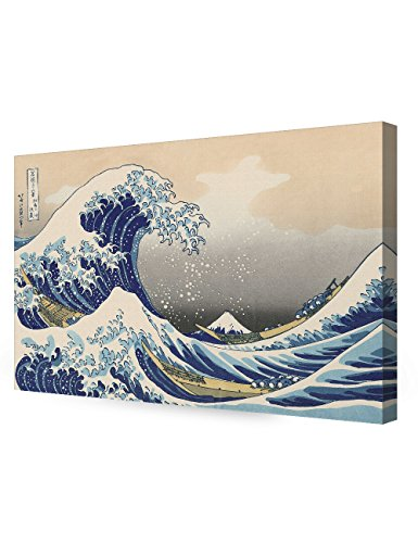 DECORARTS - The Great Wave Off Kanagawa by Katsushika Hoki. Classic Art Reproduction, Giclee Print on Canvas Stretched Gallery Wrapped 36x24 (Art Canvas Deco Print)