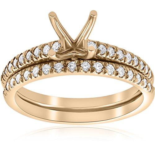 Common Prong Diamond Engagement Setting - 3/8ct Diamond Engagement Ring Setting & Wedding Band 14k Yellow Gold