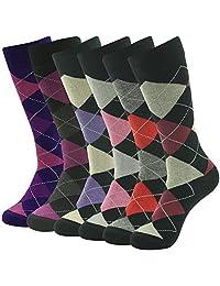 SUTTOS 6 Pairs Unisex Men's Women's Cotton Colorful Argyle Diamond Crew Dress Socks