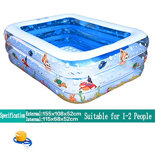 LQQGXL,Bath Inflatable bathtub / swimming pool The pool is suitable for 1-2 people (155 108 52cm) Children / Infant / Family Soccer / Electric pool Inflatable bathtub ( Color : Electric Pump ) by LQQGXL