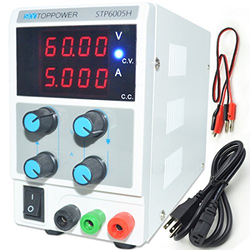 LETOUR Variable DC Bench Power Supply 60V 5A,Adjustable Regulated Power Supply mA Display, 0-60V 0-5A 300Watts Power With Alligator Cable and US Power (Adjustable Supply Lines)