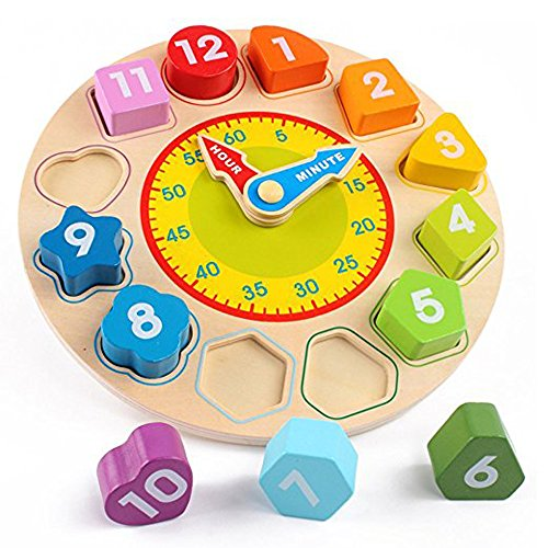Joqutoys Wooden Shape Sorting Clock Puzzle Teaching Time Number Blocks Educational Toy for Kids by Joqutoys (Image #1)