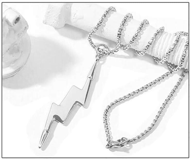Schwarz Stahl CWYPB M/änner Halskette Blitz Edelstahl Diamant Anh/änger Kette + Pendant Kombination 2 Arten Von Verschlei/ß Methoden Titan Steel Gold