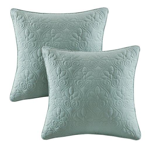 Quebec Quilted Square Pillow Pair Seafoam 20x20