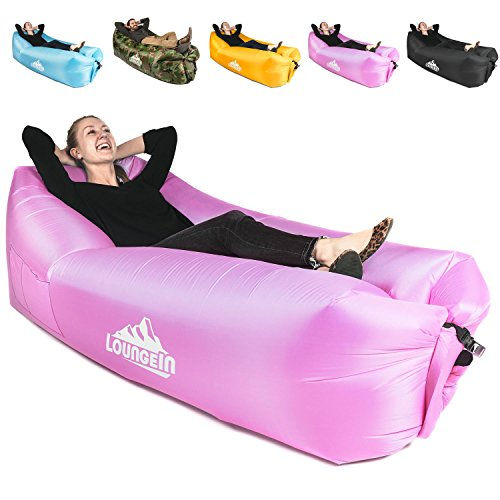 LoungeIN Inflatable Lounger - Multi Functional Portable Water Resistant Inflatable Lounge Chair (Pink)