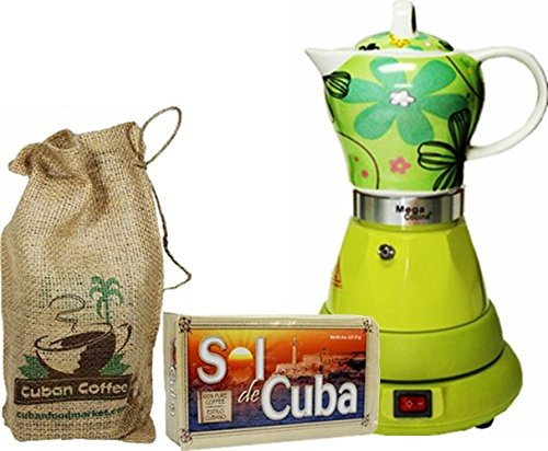 Electric Cordless Espresso Cuban Coffee Maker 4 Cups Color GREEN Includes Coffee in Beautiful Jute ()