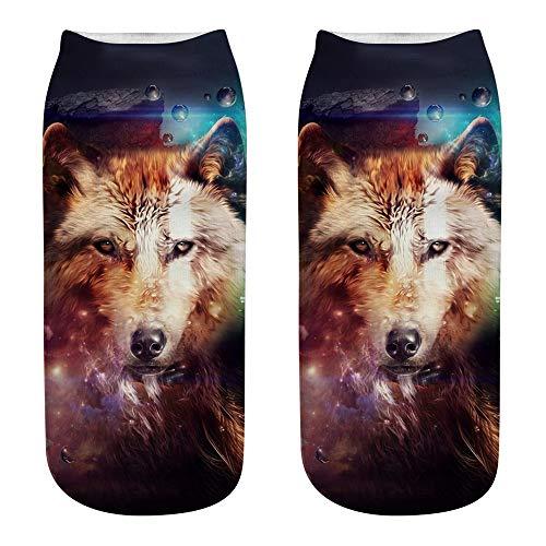 Naiflowers Fashion Unisex Men Women Girl Soft Cute Casual Cotton Sock 3D Wolf Head Print Medium Sports Socks ()