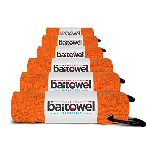 Fishing's Best Microfiber Bait Towel, 6 Pack, Orange Crush, 16' X 16', with Carabiner Clip