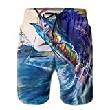 CARRYFUTURE Men's Swim Trunks Runnning Shorts Beautiful Blue Marlin Pattern Beach Pants Size XL