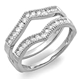 0.48 Carat (ctw) 18K White Gold Round Diamond Anniversary Wedding Band Guard Ring 1/2 CT (Size 4)
