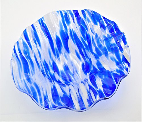 (Decorative Bowl of Blue and White on Clear with a Ruffled Rim Handcrafted Fused Glass)