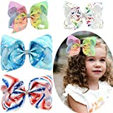 NIWish 6inch Unicorn Hair Bows 8inch Sparkly Glitter Rhinestones Hair Bows with Alligator Clips for Girls Toddlers Kids Children Teens Pack of 4