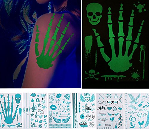 Glow in The Dark Temporary Tattoos,Gloween Fake Tattoo Paper,Halloween Birthday Party Favors, Individual Styles Available and Fashionable Temporary Fake Shimmer Jewelry Tattoo for Adult,Kids (12 Year Old Halloween Party Games)