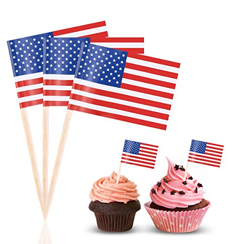 BESTOYARD Flag Picks American Flag Cupcake Toppers for Party Favors Birthday Wedding Baby Shower Food Toothpicks 100 Pcs (Flag Party Picks)
