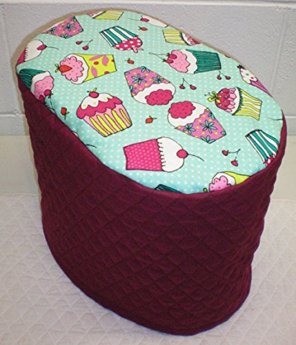 Cupcake Food Processor Cover (Teal & Burgundy, Large) by Penny's Needful Things