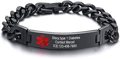 Men Medical Alert ID Bracelet Stainless Steel Emergency Chain Free Laser Engrave