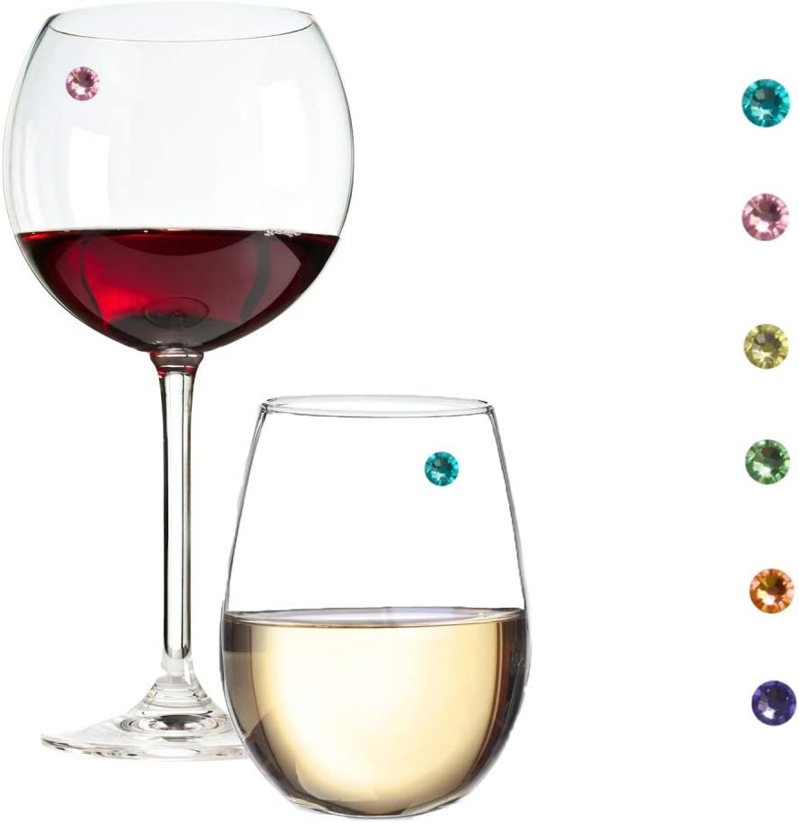 Swarovski Crystal Magnetic Wine Charms Set of 6 Pastel Colors - Great for Stemless Glasses