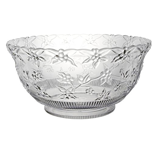 Party Essentials N124563 Hard Plastic 12-Quart Embossed Punch Bowl, Clear