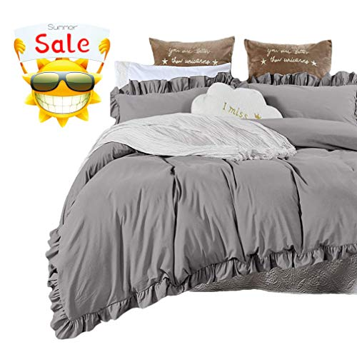 SexyTown Duvet Cover Set King,100% Washed Cotton,Reversible Solid Color Ruffle Design Soft Bedding with Zipper Closure and Corner Tie