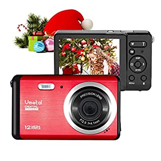 Digital Camera, 2.8 Inch HD Digital Camera Rechargeable Point and Shoot Camera, Students Cameras Kids Digital Camera Compact Cameras for Photography (Red)