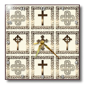 3dRose dpp_114197_3 Four Different Ornate Golden Christian Crosses in a Gold Frame on a Creme Beige Background Wall Clock, 15 by 15-Inch