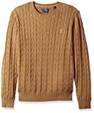 GANT Men's Cable Cotton Crewneck Sweater, Dark Sand Melange, M