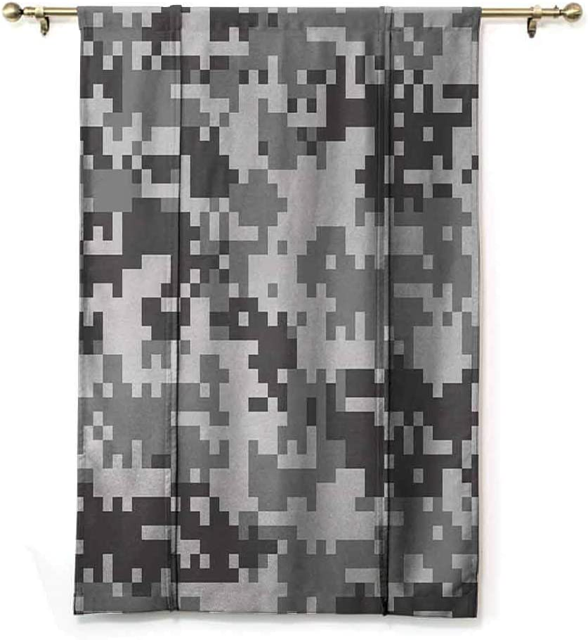 GugeABC Lush Decor Curtains Camo Room Darken Curtains Digital Pixel Effect Modern Design Conceptual Commando Inspired Grey Toned 39 x 64 Inches Grey Light Grey Silver