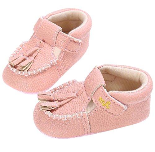 Zapatos de bebé,Tongshi Bebé Niña Chicos Suave única Cuna Niño Recién Borlas Zapatos Zapatillas Rosa