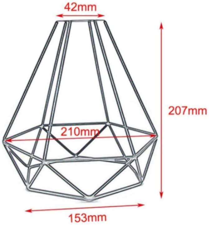 FuYouTa Abat Jour Vintage Suspension Industrielle /à Cage en Forme de Diamant Abat-Jour r/étro Industriel Bricolage en m/étal Noir pour Cage /à Oiseaux Cage de Panier en Fil m/étallique