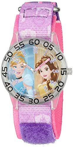 Disney Girl's 'Cinderella' Quartz Plastic and Nylon Automatic Watch, Color:Purple (Model: W002945)