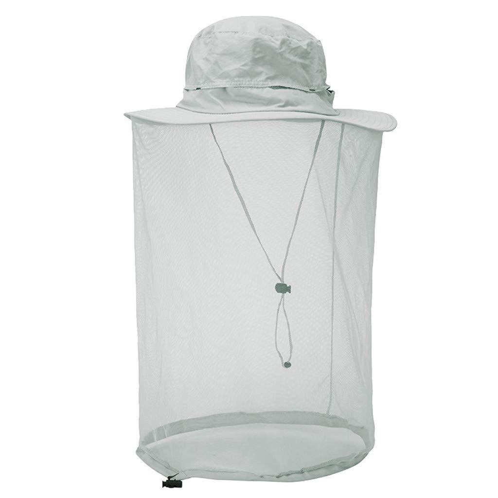 FEDULK Unisex Mosquito Protection Head Net Hat Sun Bucket Hat Hidden Net Mesh Outdoor Creative Novelty Caps(Light Gray, One Size)