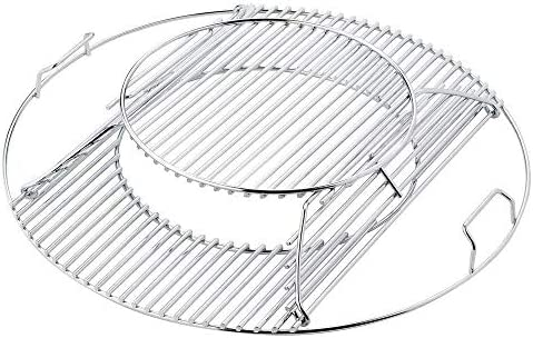 GFTIME 54.6 Dia. Grillrost Ersatz für Weber 57cm Holzkohlegrills, grillrost rund vernickelt Stahl Gourmet Grill-System kugelgrill zubehör (Nicht klappbar)