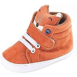 GBSELL Baby Girl Boys Fox Bear Hight Cut Shoes Sneaker Anti-slip Soft Sole Toddler (Orange Fox, 0~6 Month)