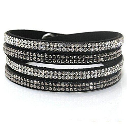 Babao Jewelry Black Fashion Sparkling Crystal Soft Comfortable Rhinestones Leather (Sparkling Beaded Bracelet)