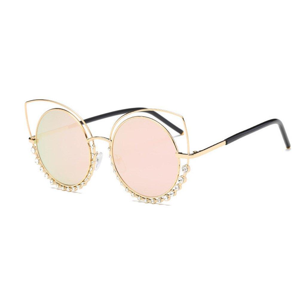 Doober Trend Cat Eye Sunglasses Oversized Round Metal Frame Flash Mirror Lens