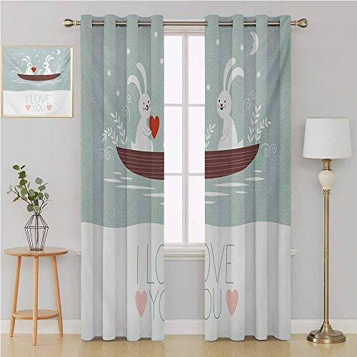 Benmo House I Love You grommit Curtain Patterned Drape for Glass Door,Rabbit Couple Sailing on Boat in The Lake Valentines Partner Cartoon Curtains 120 by 108 Inch Baby Blue Umber White