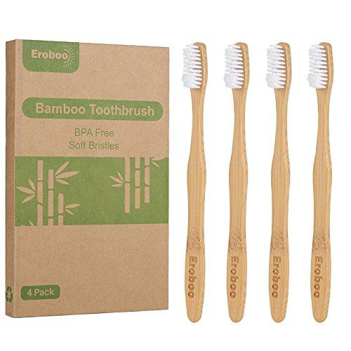 Natural Organic Bamboo Toothbrush Eco-Friendly Biodegradable Bamboo Handles BPA Free Soft Nylon Bristles, 4 Packs For Adult Dental Care