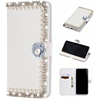 Gostyle Samsung Galaxy S9 Plus Bling Diamond Wallet Case,3D Handmade Shiny Glitter Crystal Rhinestone PU Leather Flip Kickstand Cover with Credit Card Slots Magnetic Closure,Pearl & Purple Flower