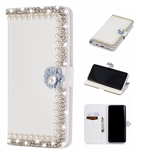 Gostyle Samsung Galaxy S9 Plus Bling Diamond Wallet Case,3D Handmade Shiny Glitter Crystal Rhinestone PU Leather Flip Kickstand Cover with Credit Card Slots Magnetic Closure,Pearl & Purple Flower by Gostyle