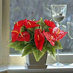 HO2NLE 4PCS Fake Anthurium Artificial Flowers Bouquet Real Touch PU Faux Floral Shrubs Bundle Indoor Outdoor Home Garden Parties Wedding Simulation Decor Red 4