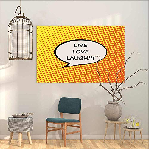 (Oncegod Pattern Oil Painting Art Sticker Live Laugh Love Comicbook Style Speech Bubble with a Quote on Halftone Background Modern Decorative Artwork Orange Yellow Black W23 xL19)