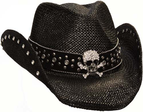 Peter Grimm Ltd Women's Crystal Skull Straw Hat Black One Size