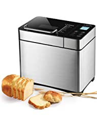 Bread Maker, ALBOHES 2.2LB Stainless Steel Bread Machines with Gluten Free Setting, Automatic Nut Dispenser, 17 Programmable Menu Settings, 3 Loaf Sizes 3 Crust Colors