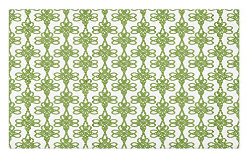 Ambesonne Irish Doormat, Entangled Clover Leaves Twigs Celtic Pattern Botanical Filigree Inspired Retro Tile, Decorative Polyester Floor Mat with Non-Skid Backing, 30 W X 18 L Inches, Green Cream
